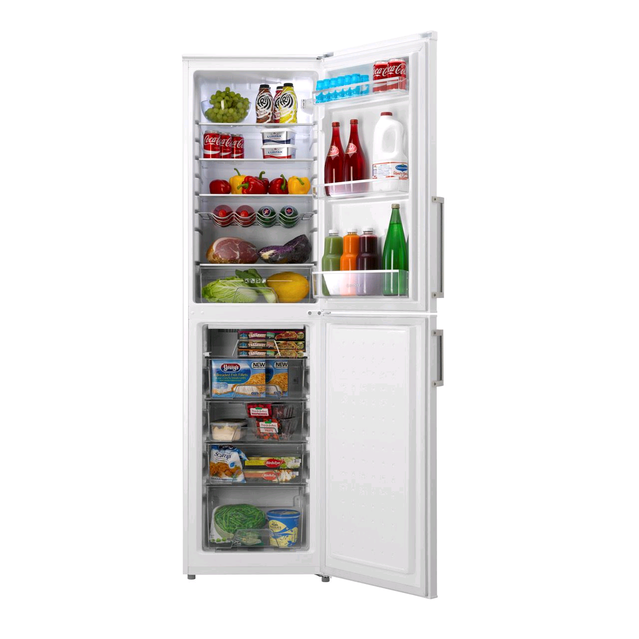 HOOVER Frost Free Fridge Freezer181/100Litre H 197 W 55 D 58cm 5 drawer White Metal Handles