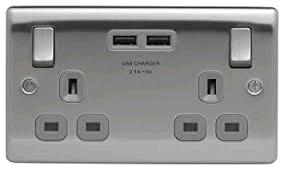 BG Twin 13a Socket c/w 2 x USB Port Brushed Steel