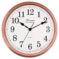 "Acctim Beckford Wall Clock In Copper Retro Style Diameter14"" 36cm Requires 1 x AA Battery (not included)"