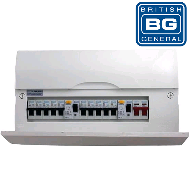 BG 16 Outgoing Way Populated Metal Consumer Unit 100a MS + 2 x RCD H225mm W390mm D110mm