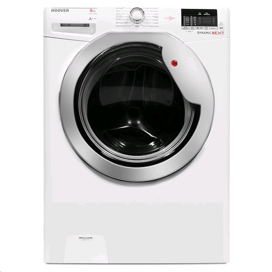 Hoover Dynamic Next One Touch 8kg 1400spin White With Chrome Door A+++ 14 minute quick wash