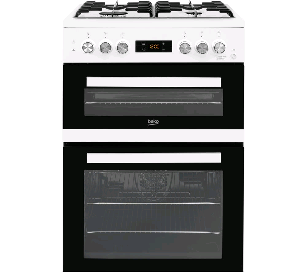 Beko Double Oven Dual Fuel Cooker White 60cm with timer