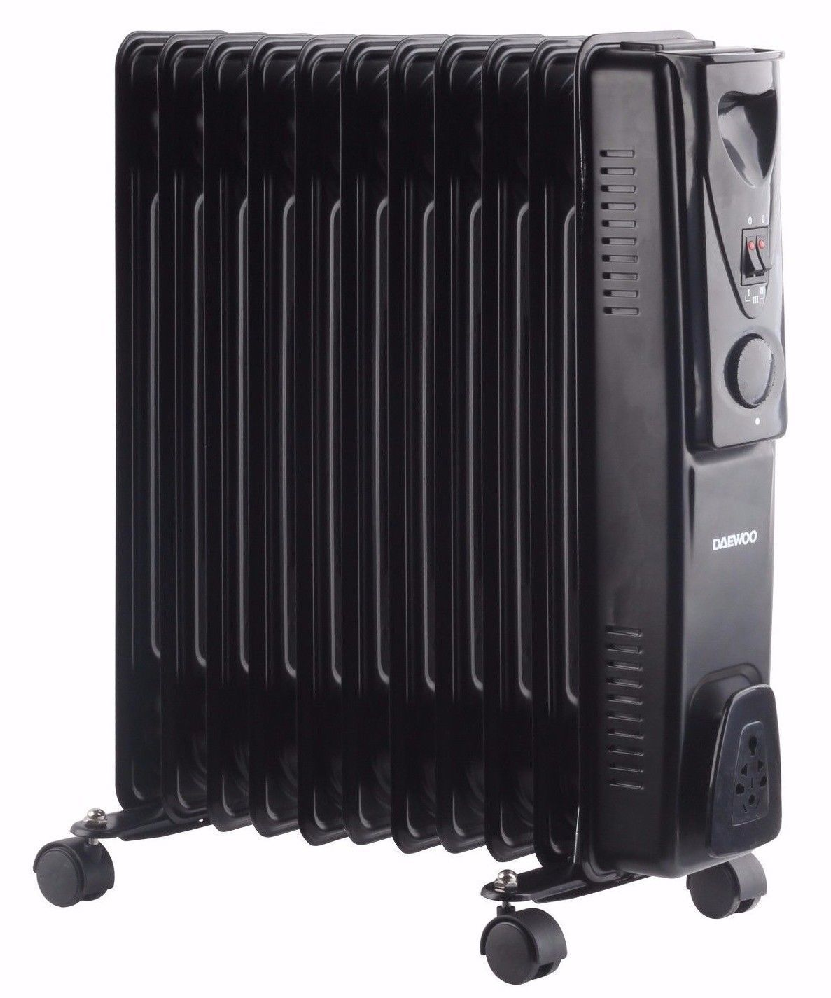 Daewoo Oil Filled Radiator 2000W 3 Heat Settings BLACK