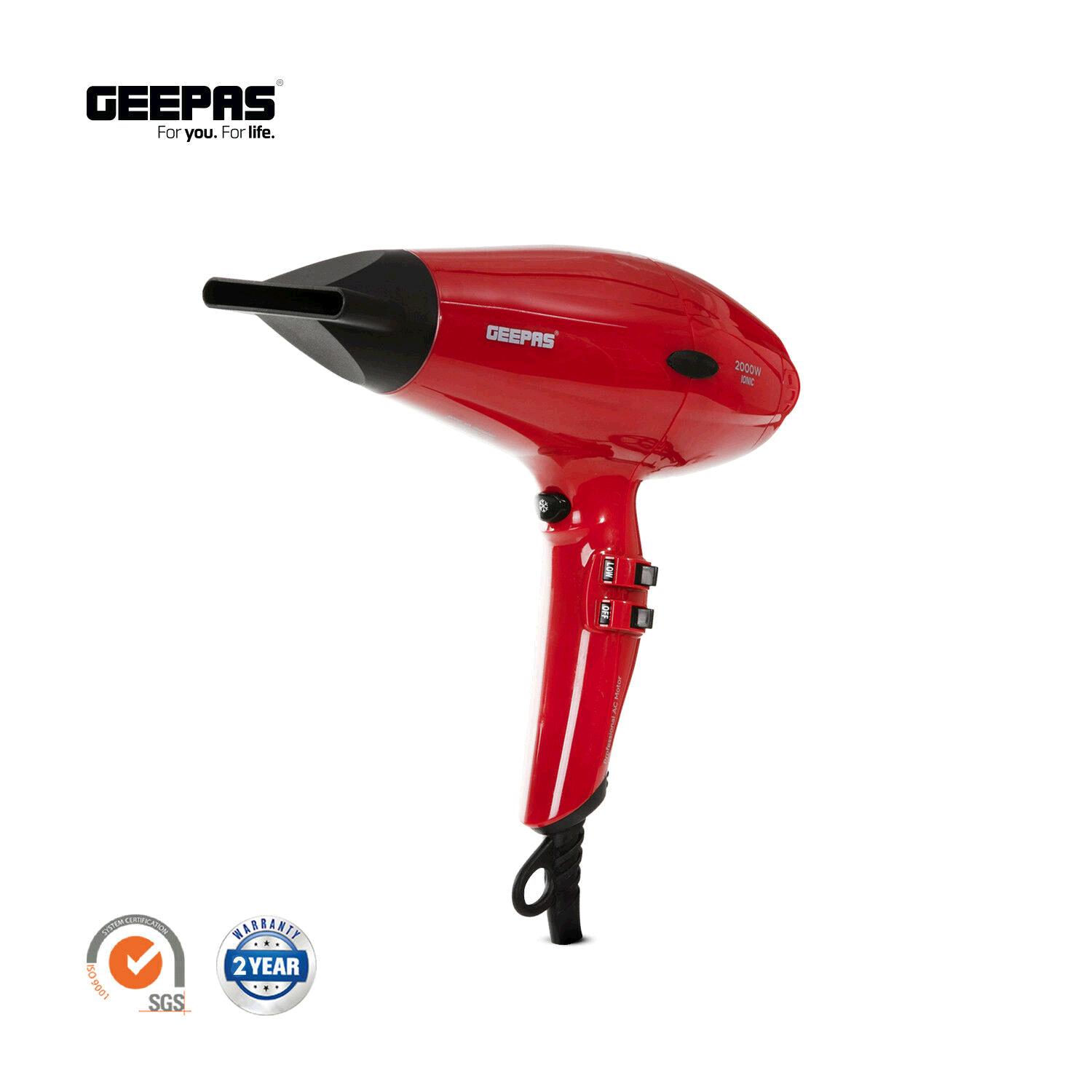 Geepas GHD86020UK Hair Dryer Powerful 2000 Watt with 2-Speed and 3 Temperature Settings