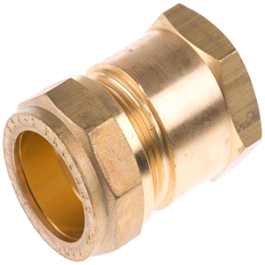 "Copper Female Iron Coupling 15mm x 1/2"" Compression"