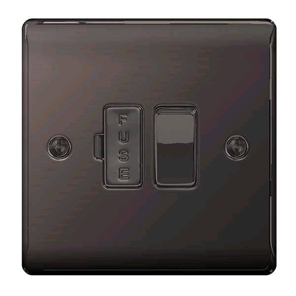 BG 13a Switched Fused Connection Unit Black Nickel