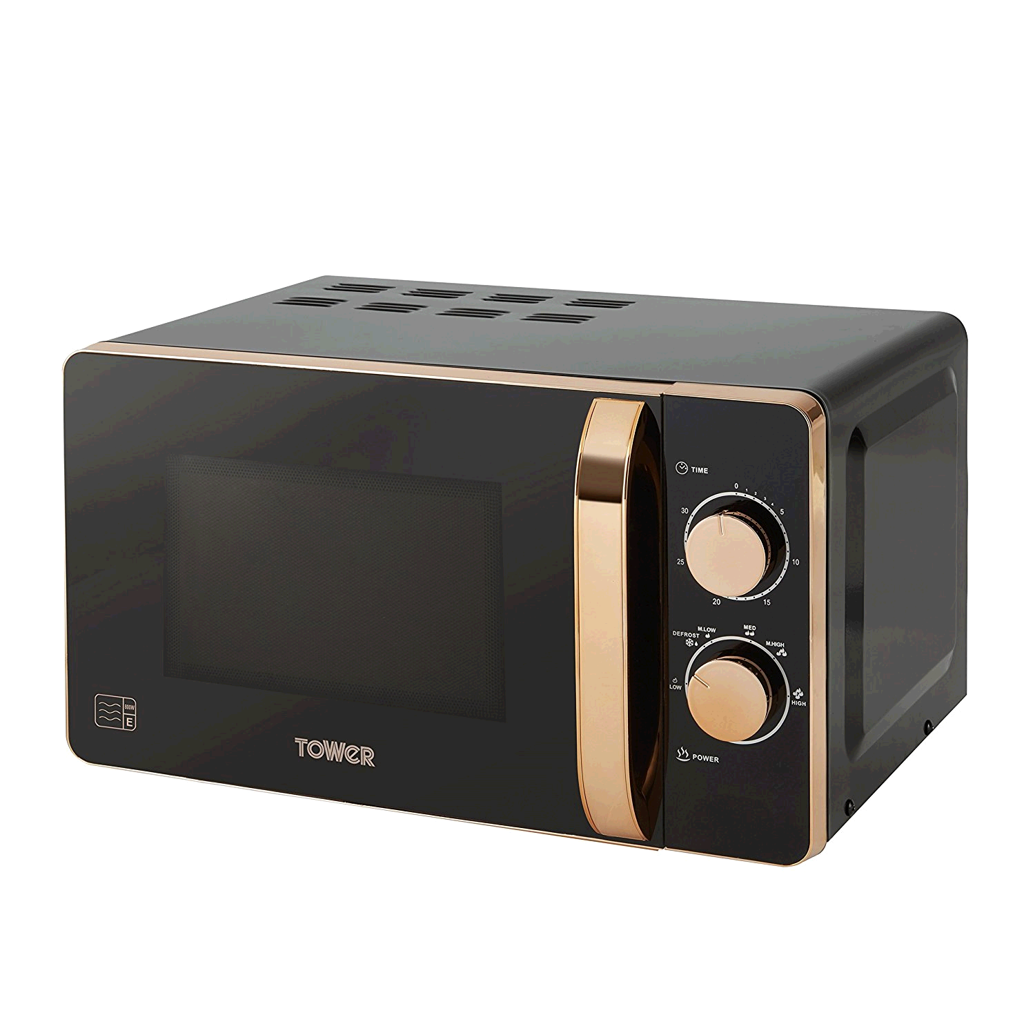 Tower20L 800w Microwave Manual Black and Rose Gold Finish