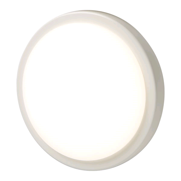 BG IP54 Round 17W 4000K LED Bulkhead c/w White & Chrome Bezel 280 x 55mm
