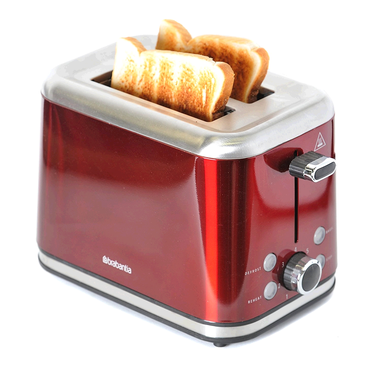 Brabantia  BBEK1021-R 2-Slice Toaster, 1050 W, Red/Brushed Stainless Steel