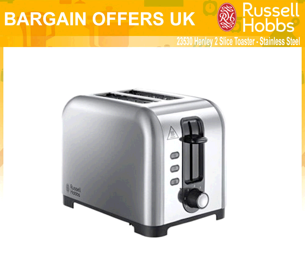 Russell Hobbs Henley 2 Slice Toaster Brushed Stainless Extra Wide slots