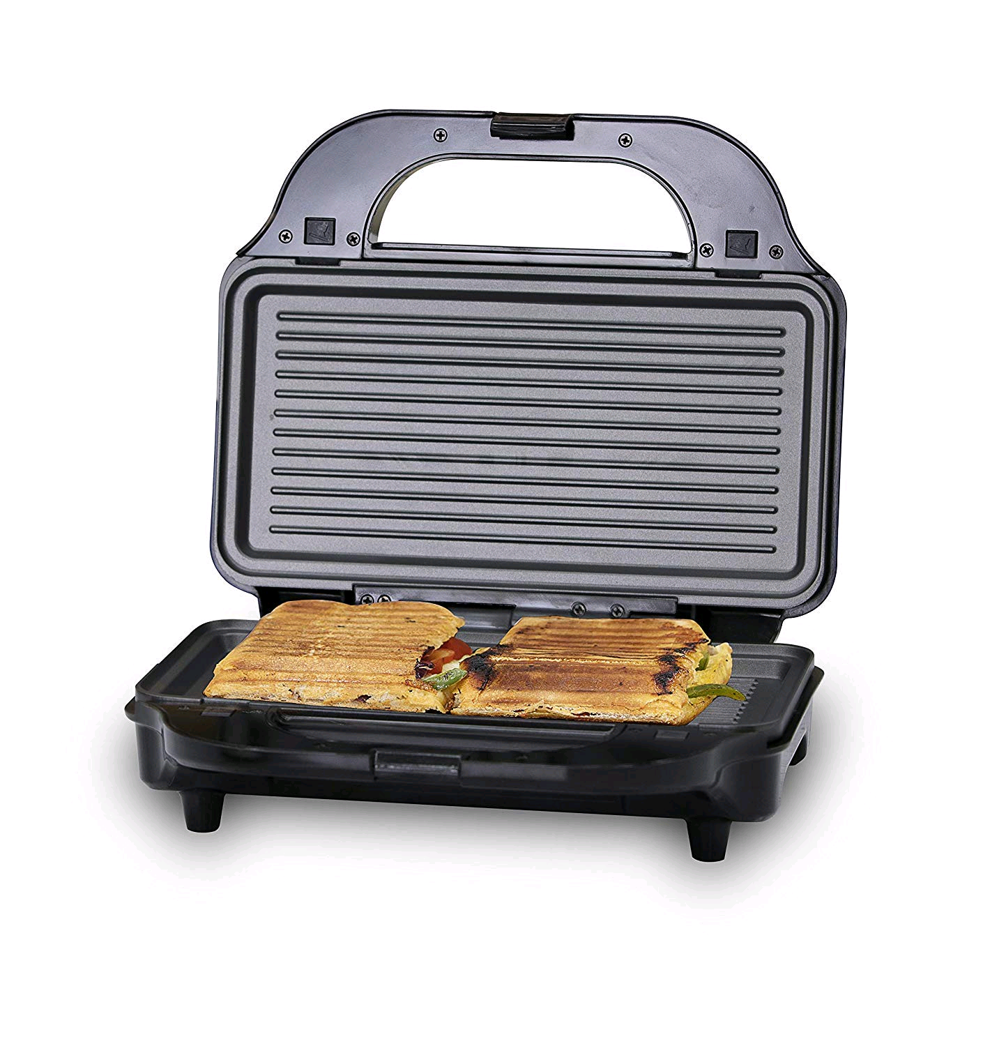 Tower T27020 3-in-1 Grill, Sandwich and Waffle Maker with Non-Stick, Easy Clean Removable Plates, Automatic Temperature Control, Aluminium, 900 W, Silver/Black