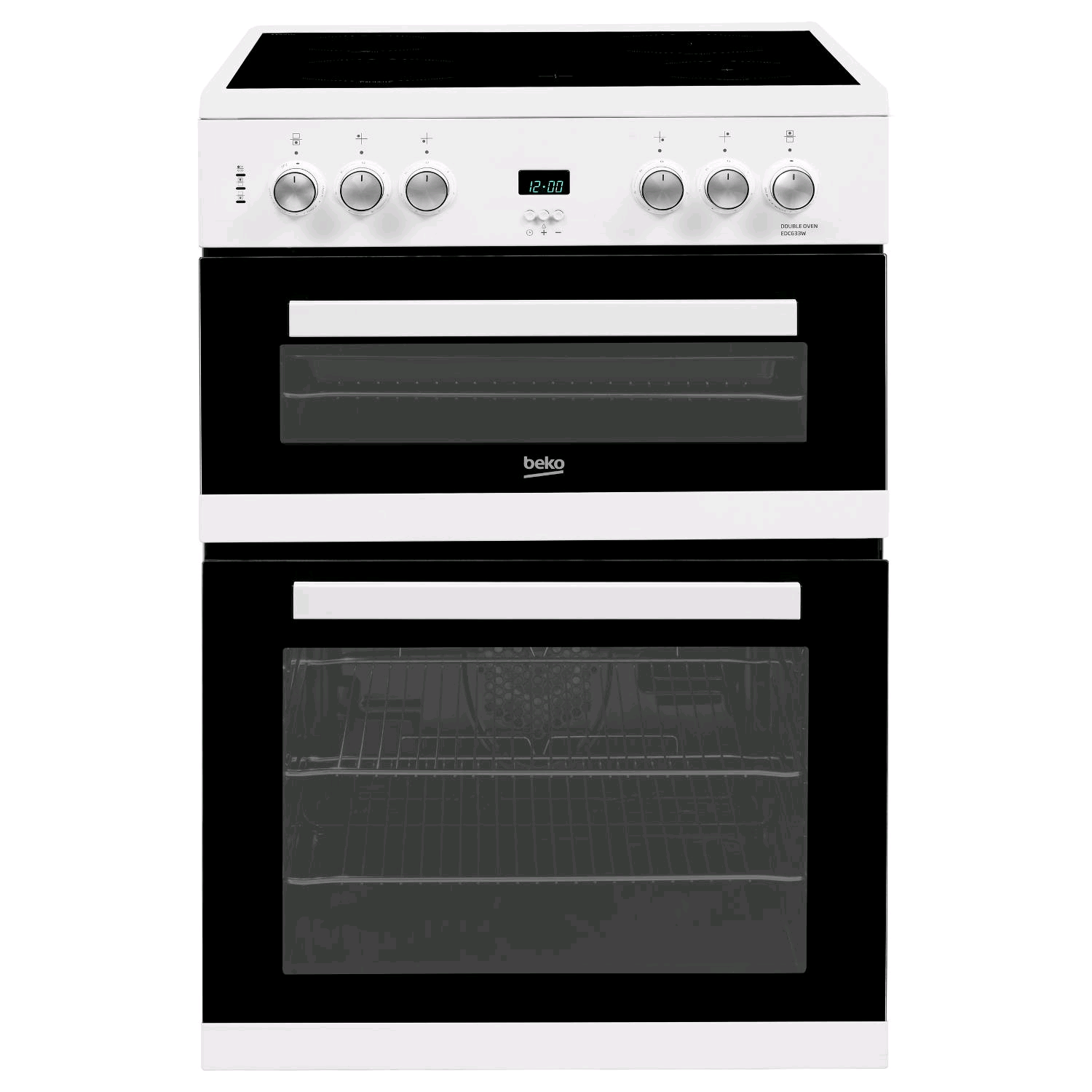 Beko Double Oven Electric Cooker White Ceramic Hob 60cm
