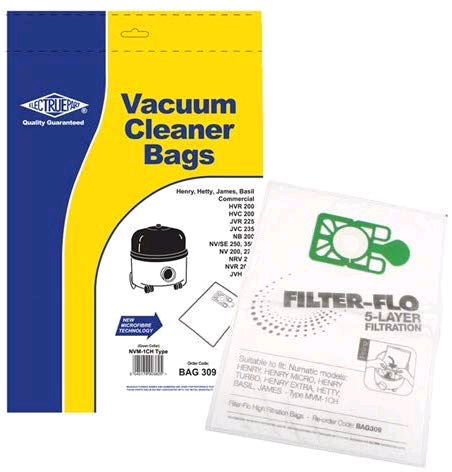 Numatic Henry Vacuum NVM-1CH Filter-Flo Synthetic Dust Bags (Pack of 10) - BAG309