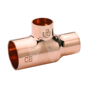 Copper Reducing Tee 22mm x 15mm x 15mm Endfeed
