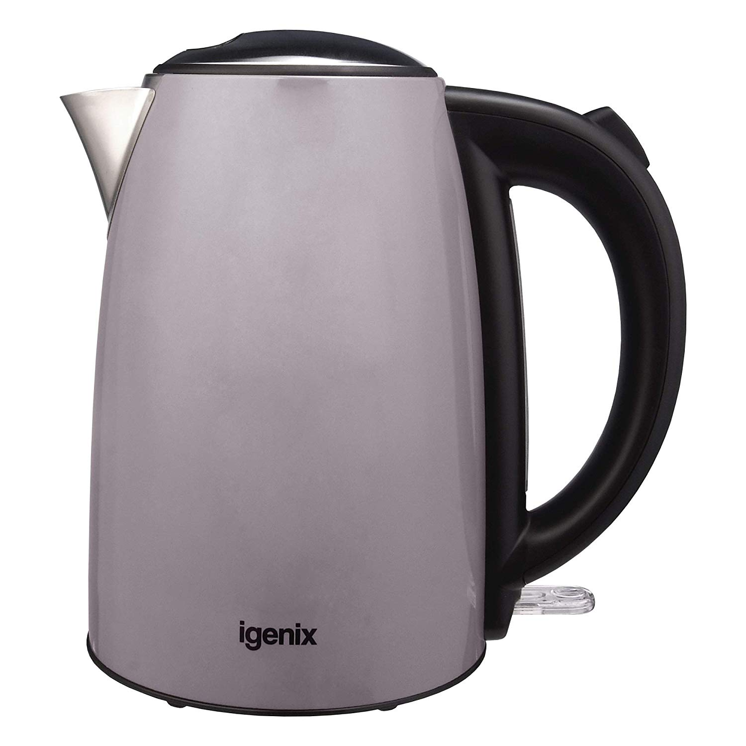 Igenix Grey Stainless Steel Kettle 1.7ltr 3Kw Lid with Push Button
