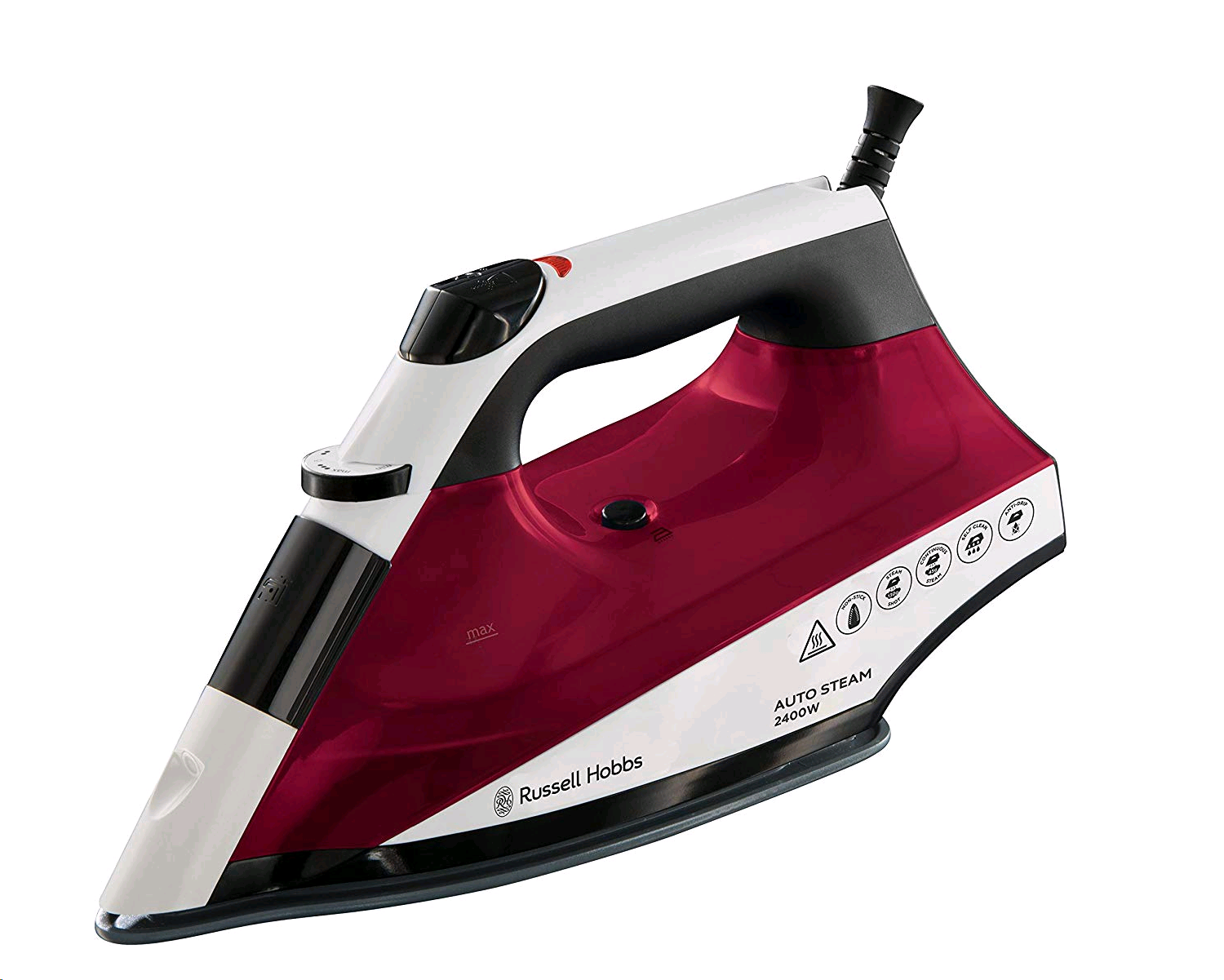 Russell Hobbs Auto Steam Iron Non Stick Plate White/Red