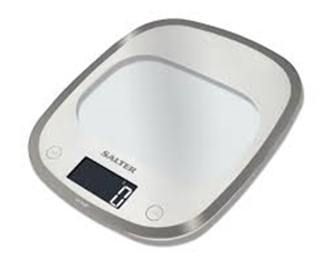 SALTER 1050WHDR ELEC KITCHEN SCALE CRV GLASS WHITE SAVE