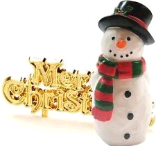 ANNIVERSARY HOUSE BX220 LUXURY BOXED SNOWMAN TOPPER AND MOTTO