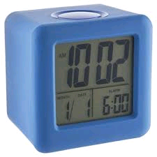 Acctim Vanos LCD Alarm Clock With Rubber Case in Blue