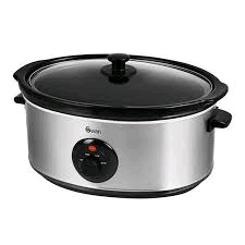 Swan Large Slow Cooker Stainless Steel 6.5 Ltr Main Cavity