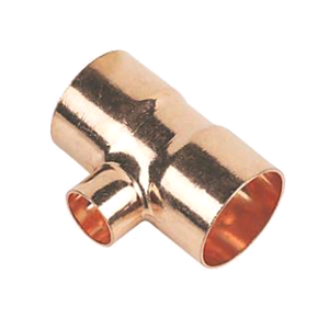 Copper Reducing Tee 28mm x 28mm x 22mm Endfeed