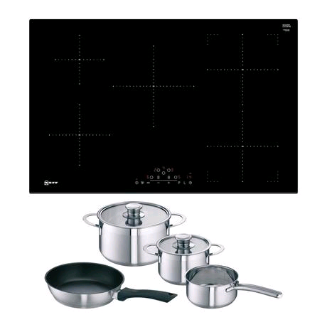 Neff 80cm Frameless Induction Hob in Black Includes Free Pan Set
