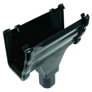 Floplast Niagara Square Gutter Running Outlet Black