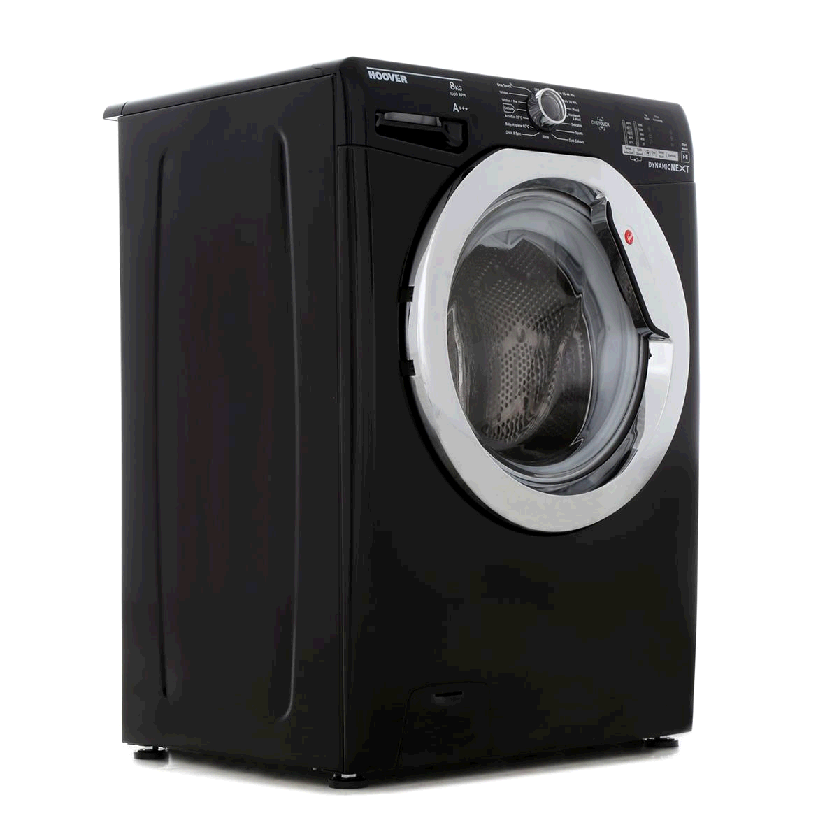 Hoover Washing Machine 8Kg 1600 Spin Black with Chrome door A+++ Touch Display 14 minute quick wash