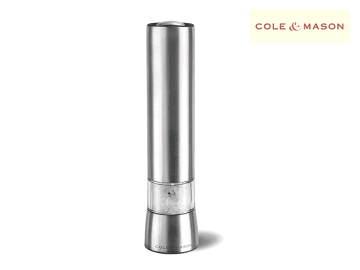 COLE AND MASON Hampstead Electronic Salt/Pepper Mill LED Light, Stainless Steel, Silver, 21.5 cm
