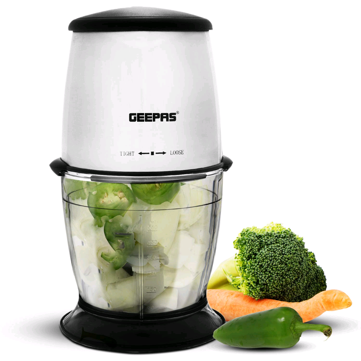 Geepas GMC42013UK 300W Mini Food Processor � 550ML Capacity, Stainless Steel Double Blade for Blending & Chopping Chopper Shredder, Perfect Salads, Salsa, Pesto, Curry Pastes More