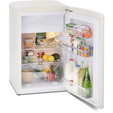 Montpellier Undercounter Retro Fridge c/w Icebox 93ltr in Cream H825 W550