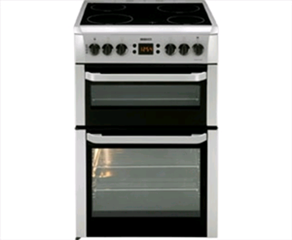 Beko Freestanding Cooker SILVER Double Oven Ceramic Top H90 W60 D60