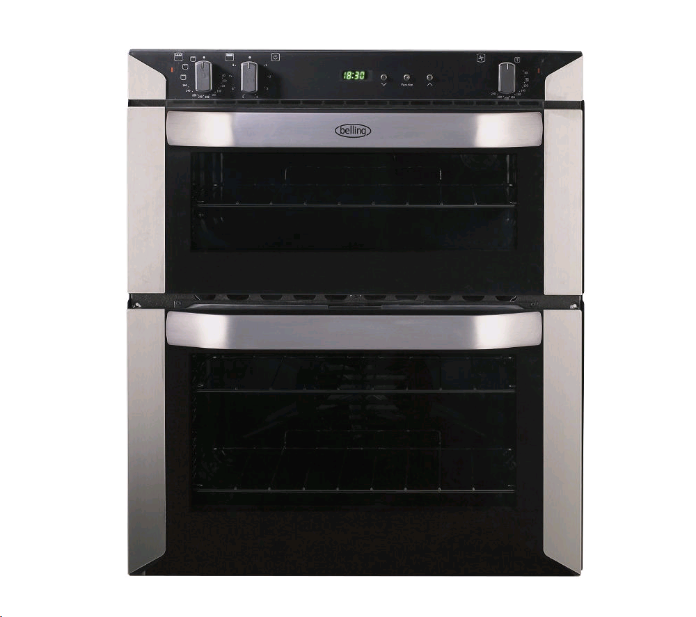 Belling Built Under Double Oven Black with Stainless Steel Trim  56L Fan Oven/ 37L Top Oven