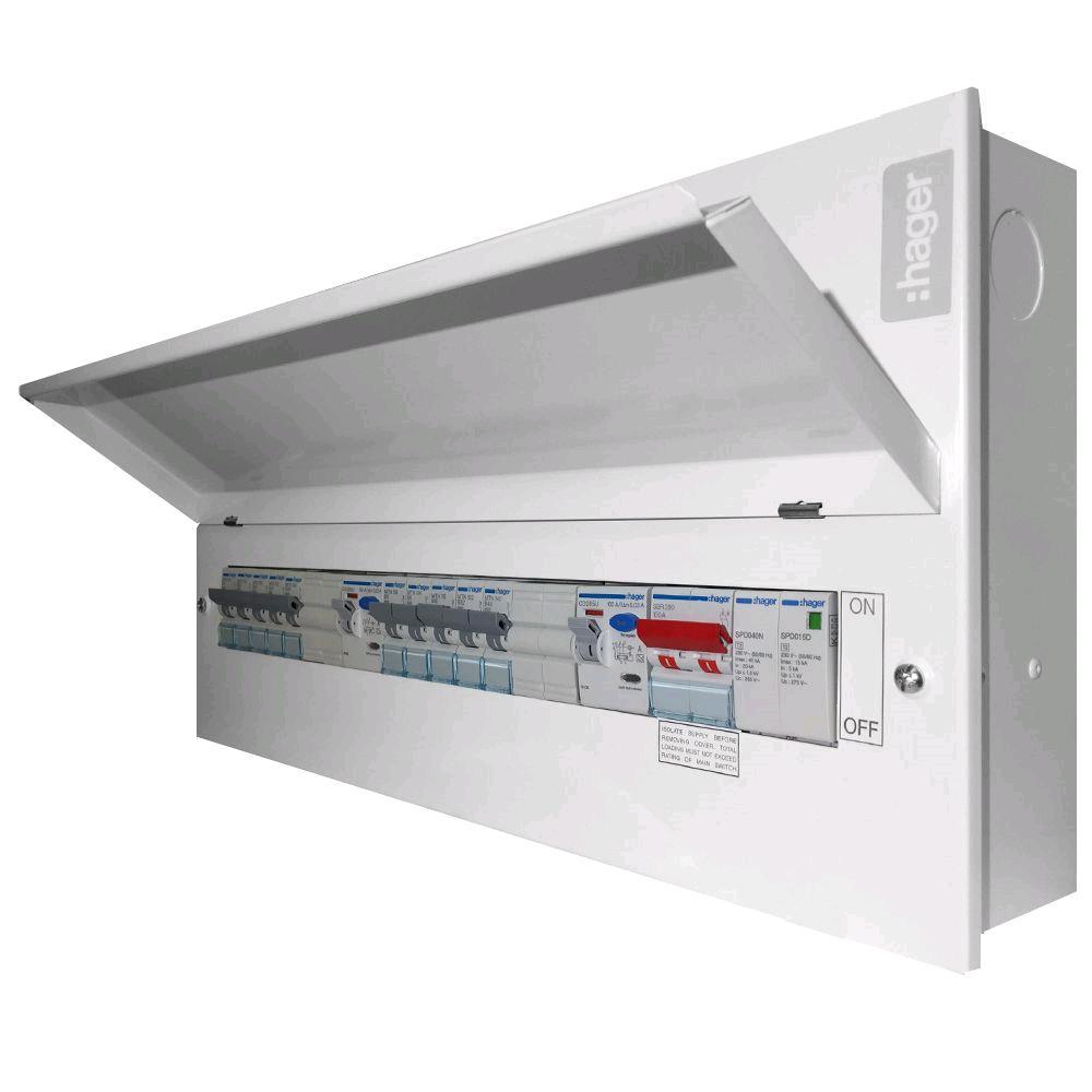 Hager 14W Split Board 2 x 100RCCB Type2 SPD + 10 MCB's