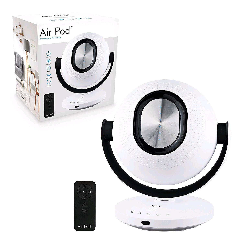 Air Pod 40029 Oscillating Bladeless Fan 6 Air Speeds Remote Control Touch Sensitive, Black, H36 x W26 x D26cm