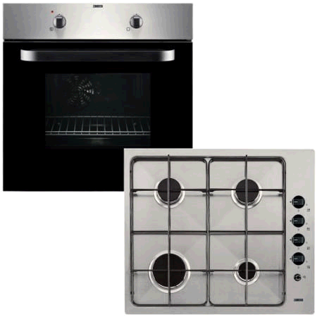 Zanussi Gas Hob and Fan Oven Pack Stainless Steel 60cm wide Single