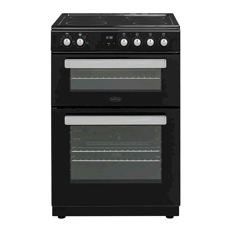 Belling Free Standing Cooker Double Oven in Black c/w Timer