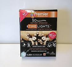 PREMIER LB112382WW BATTERY OPERATED M/ ACTION LIGHTS 50 LED + TIMER WARM WHITE