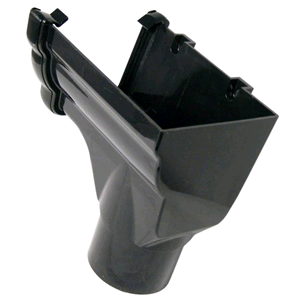 Floplast Niagara Ogee Stopend Outlet L/H Black RON5 for 80mm Downpipe