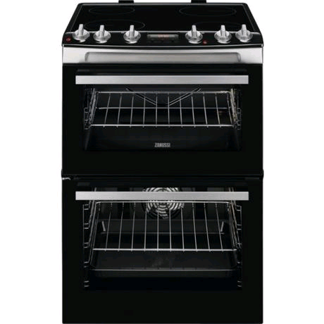 Zanussi ZCV66078XA 60cm Electric Double Oven with Ceramic Hob + Timer - Stainless Steel - A/A Rated