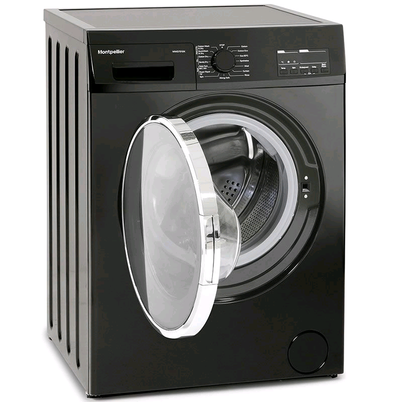 Montpellier Washer Dryer Black 7kg 1200 Spin Speed Wash 5kg Dry