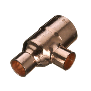 Copper Reducing Tee 35mm x 28mm Endfeed