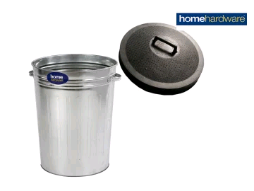 Home Hardware 2577320 Galvanised Tapered Dustbin + Rubber Lid