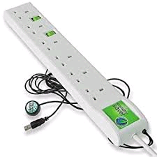Ecotek Standby Saver 6gang Extension Lead c/w USB  (Blue Box)