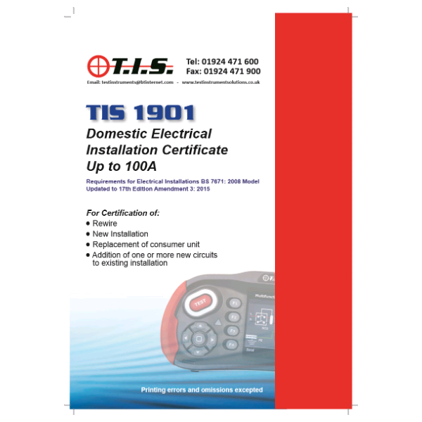 TIS Domestic Installation Certificate Book
