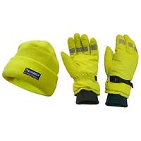 Scan Hi-Vis Yellow Beanie Hat & Gloves