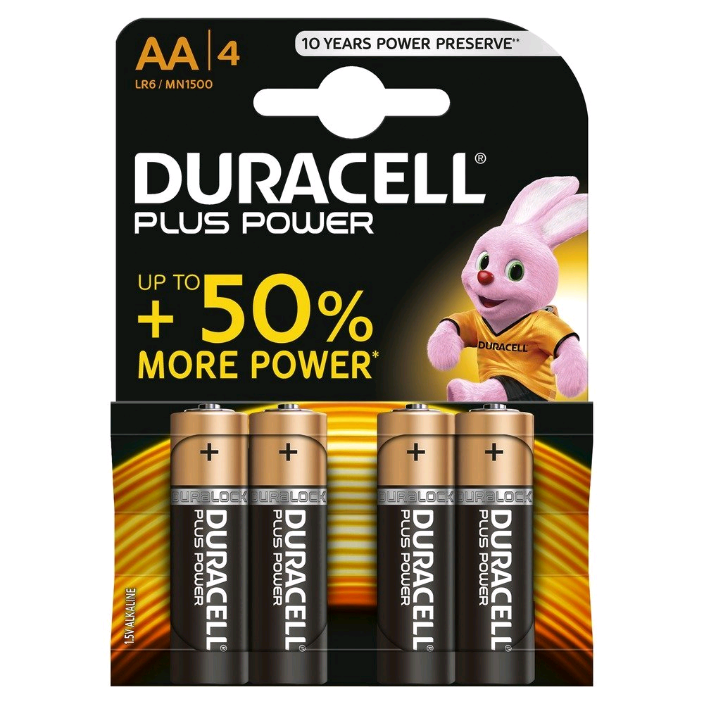 Duracell S3546 Battery AA 4Pack Alkaline Plus
