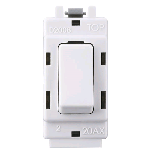 BG Grid Switch 2Pole 20a White