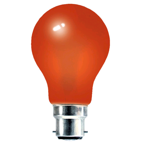 Lamp GLS Coloured 25w BC Red
