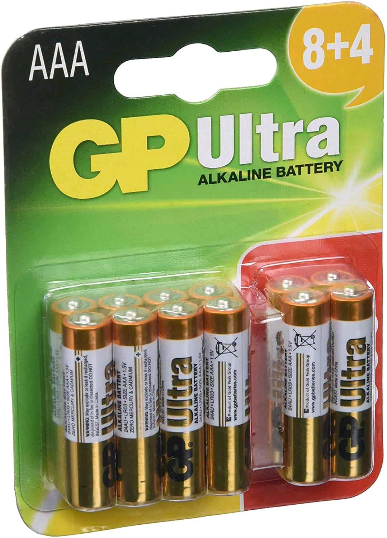 GP AAA Batteries Ultra Alkaline Pack of 12